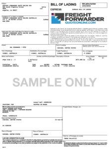 Bill of Lading sample, EasyHaul.com
