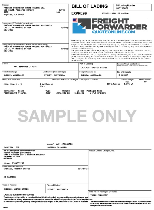 Bill of Lading sample, EasyHaul.com